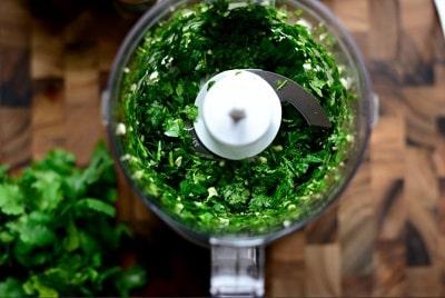 How to chop Cilantro in food processor